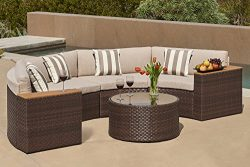 Solaura Outdoor 5-Piece Half-Moon Crescent Sectional Furniture Set All Weather Brown Wicker with ...