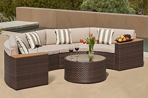 Solaura Outdoor 5 Piece Half Moon Crescent Sectional