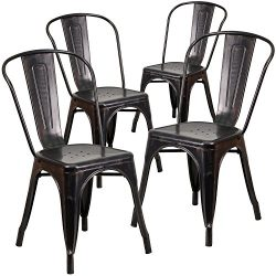 Flash Furniture 4 Pk. Black-Antique Gold Metal Indoor-Outdoor Stackable Chair