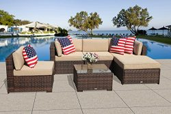 PATIOROMA Outdoor Patio Furniture (6-Piece Set) All-Weather Brown Wicker with Beige Cushions &am ...