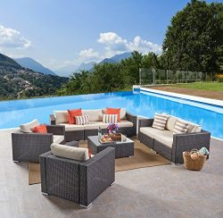 Great Deal Furniture Samuel Outdoor 8-Piece Wicker/Aluminum Sofa Chat Set with Cushions | Multib ...