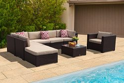 PATIOROMA Outdoor Patio Furniture Sectional Sofa Set (8-Piece Set) All-Weather Brown Wicker Furn ...