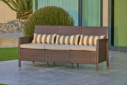Solaura Outdoor Furniture Patio Sofa (Seats 3), All Weather Brown Wicker with Light Brown Waterp ...