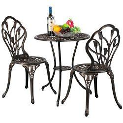 Yaheetech 3 Piece Bronze Patio Set Outdoor Patio Furniture Tulip Design Setting Cast Bistro Tabl ...