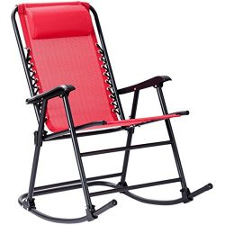 Goplus Folding Rocking Chair w/Headrest Patio Pool Yard Outdoor Portable Zero Gravity Chair for  ...