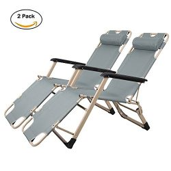 Lucky Tree 2 Pack Patio Lounge Chairs Outdoor Camping Reclining Chair Folding Flat Cot for Beach ...
