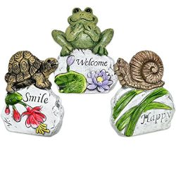 Gift Boutique Miniature Fairy Garden Spring Decor Frog Snail Turtle Sculpture Set of 3 Welcome S ...