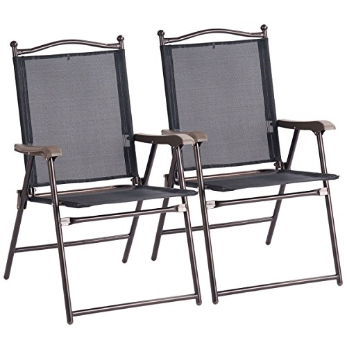 Giantex Set Of 2 Folding Sling Back Chairs Indoor Outdoor