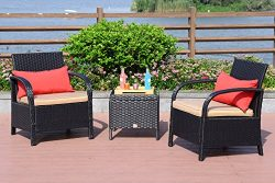 Cloud Mountain 3 Piece Patio Bistro Set Wicker Rattan Chair Set Sectional Club Chair Furniture S ...