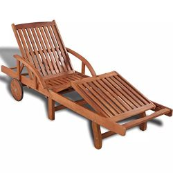 Festnight Outdoor Patio Chaise Lounge Chairs with 2 Wheels, Sun Lounger Solid Acacia Wood 78.7&# ...