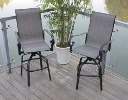 Pebble Lane Living Set of 4 Swivel Sling Patio Bar Stools with Back – Black