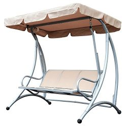 Outsunny Sling Fabric 3 Person Steel Outdoor Patio Porch Swing Chair with Adjustable Canopy Lawn ...