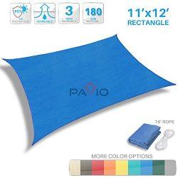 Patio Paradise 11′ x 12′ Blue Sun Shade Sail Rectangle Canopy – Permeable UV B ...