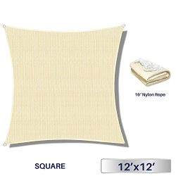 Windscreen4less 12′ x 12′ Square Sun Shade Sail – Beige with White Strips Dura ...