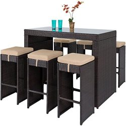 Best Choice Products 7-Piece Outdoor Rattan Wicker Bar Dining Patio Furniture Set w/Glass Table  ...