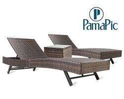 Pamapic 3PCS Outdoor Chaise Lounge Chair Set 【with Cushion Set of 2】, Adjustable Backrest PE W ...