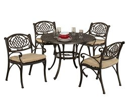 Hillsdale outdoor Esterton 5Piece Round Dining Set, Black with Gold Highlights
