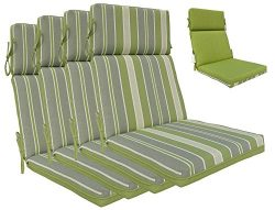 Bossima Indoor/Outdoor Green/Grey Striped/Piebald High Back Chair Cushion, Set of 4,Spring/Summe ...
