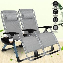 Artist Hand 350LBS Capacity Set of 2 Pack Zero Gravity Outdoor Lounge Chair w/Cup Holder with Mo ...