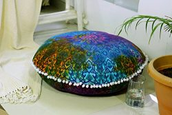 Popular Handicrafts Large Blue Hippie Mandala Floor Pillow-Cushion-Pouf Cover Round Bohemian Yog ...
