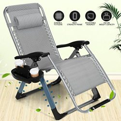Artist Hand 350LBS Capacity Zero Gravity Outdoor Lounge Chair w/Cup Holder with Mobile Device Sl ...