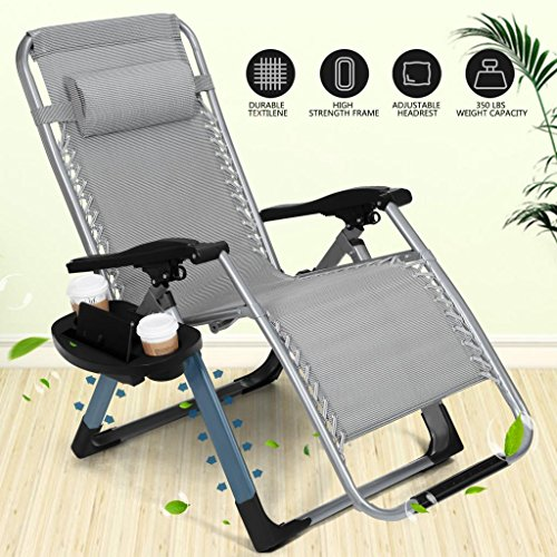 Artist Hand 350LBS Capacity Zero Gravity Outdoor Lounge Chair W/Cup Holder  With Mobile Device