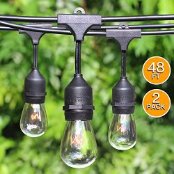 2-Pack Pro Outdoor Patio String lights w/Edison Vintage S14 Bulbs & E26 Base Sockets, 48Ft W ...