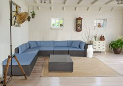 GOJOOASIS Outdoor Patio PE Wicker Rattan Sofa Sectional Furniture Conversation Set with Cushion  ...