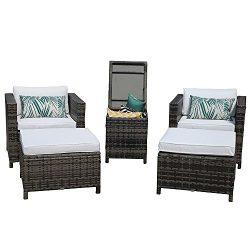 PATIOROMA Patio Furniture Sofa (5-Piece) All-Weather Grey Wicker Furniture with White Back Cushi ...