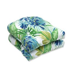 Pillow Perfect Outdoor/Indoor Soleil Wicker Seat Cushion (Set of 2), Blue/Green