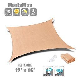MorisMos Beige Sun Shade Sail Rectangle Canopy Patio Lawn Awning UV Block Fabric Durable Shelter ...