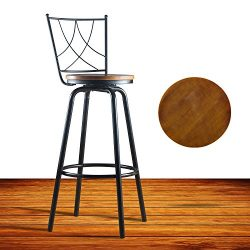 URANMOLE Round Wood Seat Bar/Counter Height Adjustable Swivel Metal Bar Stool/Chair with Backres ...