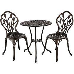 go2buy 3Piece Bronze Bistro Set Outdoor Patio Garden Cast Bistro Aluminum Round Table & Chai ...