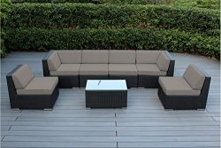 Ohana 7-Piece Outdoor Patio Furniture Sectional Conversation Set, Black Wicker with Sunbrella Ra ...