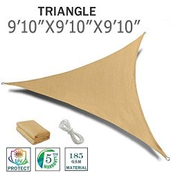 "SUNNY GUARD 9'10"" x 9'10"" x 9'10"" Sand Triangle Sun Shade Sa ..."