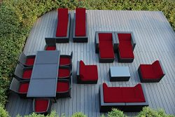Ohana 20-Piece Outdoor Patio Furniture Sofa, Dining and Chaise Lounge Set, Black Wicker with Red ...