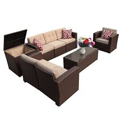 Super Patio Patio Furniture Set, 8 Piece Outdoor Wicker Sectional Sofa with Beige Cushions, Thre ...
