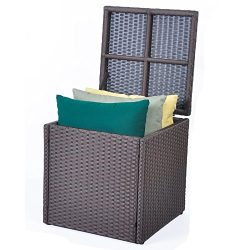 Outdoor Patio Resin Wicker Deck Box Storage Container Bench Seat, 21 Gallon, Anti Rust, All Weat ...