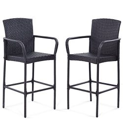 TANGKULA 2 PCS Patio Wicker Rattan Bar Chairs Outdoor Garden Wicker Rattan Stool Dining High Cou ...