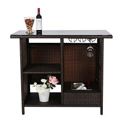Peach Tree Outdoor Patio Wicker Bar Counter Table Rattan Garden Station with Shelves
