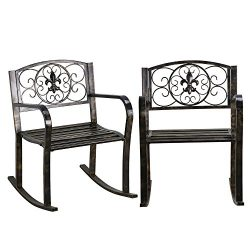 Topeakmart Set of 2 Porch Rocking Chair Sturdy Patio Metal Porch Rocker Porch Seat Deck Outdoor  ...