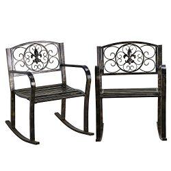 Topeakmart Set of 2 Porch Rocking Chair Sturdy Patio Metal Porch Rocker Porch Seat Deck Outdoor  ...
