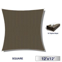 Windscreen4less 12′ x 12′ Square Sun Shade Sail – Brown with Black Strips Dura ...