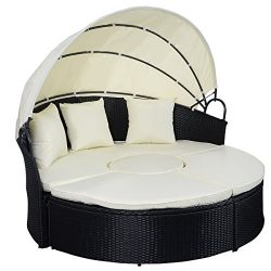 TANGKULA Patio Furniture Outdoor Round Bed with Retractable Canopy Wicker Rattan Round Daybed (5 ...