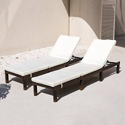 COMHO Wicker Patio Lounge Chairs Outdoor Chaise Adjustable Cushioned Furniture Patio Porch Beach ...