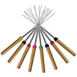 KEKU Marshmallow Roasting Sticks, Set of 8 Telescoping Rotating Smores Skewers & Hot Dog For ...