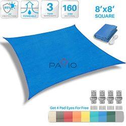 Patio Paradise 8′ x 8′ Blue Sun Shade Sail Square Canopy – Permeable UV Block  ...