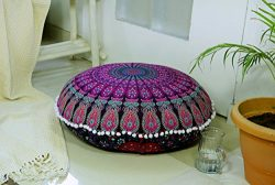 Popular Handicrafts Large Hippie Mandala Floor Pillow-Cushion-Pouf Cover Round Bohemian Yoga Dec ...