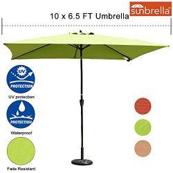 Sundale Outdoor 6.5 x 10 Ft Sunbrella Canopy Rectangular Umbrella Patio Garden Outdoor Aluminum  ...