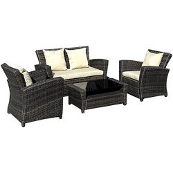 TANGKULA 4 Piece Outdoor Furniture Set Patio Deck Backyard Garden All Weather Wicker Rattan with ...